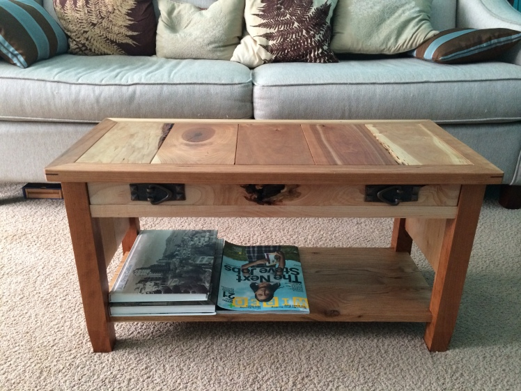 My finished coffee table, proudly holding coffee table books that have never had anywhere to go, and my beloved WIRED magazine.